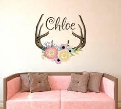 Antlers Horns Deer Name Decal Name Wall Decal Rustic Nursery Etsy