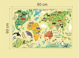 Nursery Kids Room Wall Decal World Map With Animals Kneebees