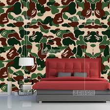 Bedroom Camouflage Printed Bape Wallpaper Restaurant Tide Brand Mural Clothing Waterproof Aape Comfortable Yuan Head Camouflage Wallpaper