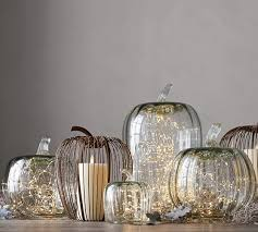 recycled glass pumpkin cloche pottery