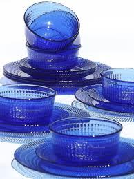 cobalt blue mexican glass dishes set