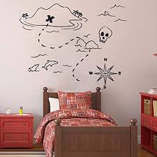 Amazon Com Pirate Ship And Treasure Map Decal Set Wall Decal For Kids Rooms Vinyl Art Stickers For Classrooms Compass Decals Nursery Home Kitchen