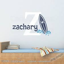 Beach Surf Wall Decal Surfboard And Waves Initial And Name Etsy Beach Wall Decals Wall Decals Vinyl Wall Decals