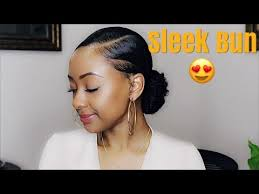 how to low sleek bun on natural hair