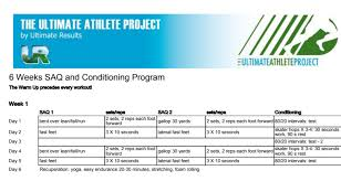 6 week saq and conditioning plan for