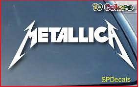 Amazon Com Spdecals Metallica Heavy Metal Car Window Vinyl Decal Sticker 11 Inches White Automotive