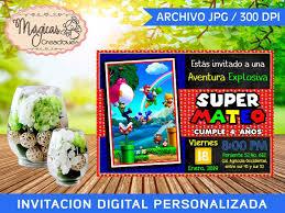Invitacion Digital Cumpleanos Ninos Super Mario Bros 105 00 En Mercado Libre
