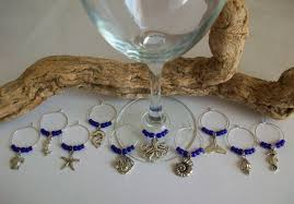 ocean sea theme wine glass charms