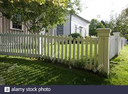 Blue House Picket Fence High Resolution Stock Photography And Images Alamy