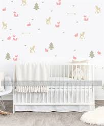 Girls Woodland Nursery Wall Decals Room Decor Trees Fox Deer Arrows
