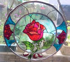 beast enchanted rose stained glass
