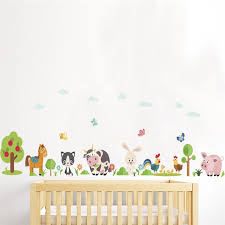 Hot Promo A245 Lovely Animals Farm Wall Stickers Home Decoration Kids Room Bedroom Cow Horse Pig Chicken Mural Art Diy Pvc Wall Decal Cicig Co