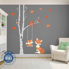Baby Fox Orange 1 Birch Tree Wall Decal Forest Woodland Birch Tree Wall Decal Animal Baby Room Nursery Wall Decals