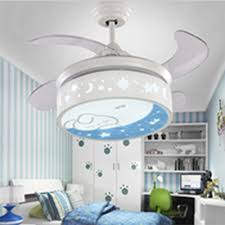 White Moon And Star Retractable Kids Room Ceiling Fan With Lovely Rabbit Susuohome Com