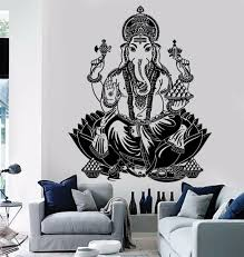 Ganesha Lord Wall Decals Indian Elephant Yoga Decal Gym Wall Black For Sale Online Ebay