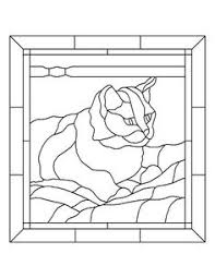 cat templates clip art stained glass