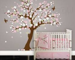 Panda And Cherry Blossom Tree Wall Decal Panda Wall Decal Blossom Tree For Baby Nursery Kids Or Childrens Room 09 Tree Wall Decal Custom Nursery Wall Decals