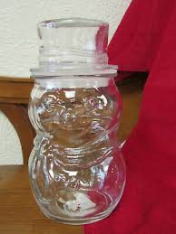 clear glass snowman canister