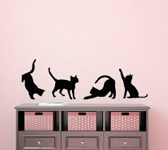 Four Cats Silhouettes Art Wall Sticker Small Pattern Art Wall Decals Cute Cats Special Designed Wall Murals Vinyl Poster Wm 456 Poster Design Art Wall Stickerdesigner Wall Stickers Aliexpress