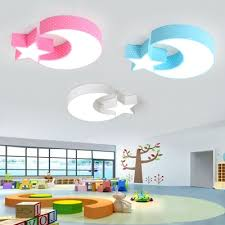 Creative Stars Moon Ceiling Lamp Modern Nursing Room Acrylic Led Ceiling Flush Mount In Blue Pink White Beautifulhalo Com