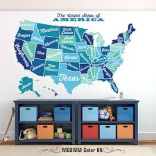 United States Map Decal Usa Map Sticker State Map Wall Mural Map Of Usa State Name Wall Decal Large American Map Wa Map Wall Mural Wall Murals Wall Decals
