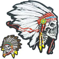 Amazon Com Native American Indian Chief Headdress Small Large Skull Embroidered Biker Back Patches For Motorcycle Jacket Vest Set Of 2 Arts Crafts Sewing