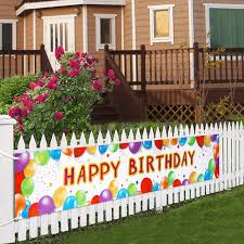Amazon Com Letjolt Huge Happy Birthday Balloon Banner Decorations Giant Birthday Party Signs Bday Party Supplies Colorful Fence Outdoor Decorations Photo Prop Backdrop Outside Birthday Decortions 6 Feet Health Personal Care