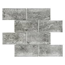 grey glass backsplash tiles