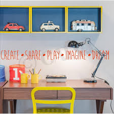 Create Share Play Imagine Dream Vinyl Lettering Wall Decal Sticker 4 H X 47 L Red Walmart Com Walmart Com