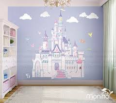 Disney Princess Castle With Colorful Birds And Squirrel Large Etsy Kids Room Wall Stickers Disney Princess Room Disney Princess Wall Decals