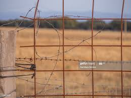 Barbed Wire On A Fence Post In The Dehesa In Salamanca High Res Stock Photo Getty Images