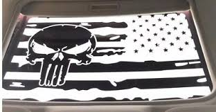 Distressed Punisher American Flag Sunroof Decal Fits Dodge Challenger 2009 2019 Ebay