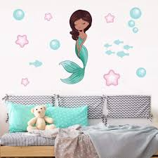Brown Haired Mermaid Wall Stickers Get Sticking