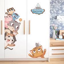 Shijuehezi Cats Wall Stickers For Kids Room Baby Bedroom Living Room Door Decoration Diy Animals Wall Decals Accessories Belenydogen