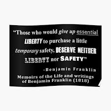 Liberty And Security Benjamin Franklin Quote White Text Poster By Allhistory Redbubble