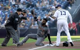 Arizona Diamondbacks Abraham Almonte center looks third Editorial ...