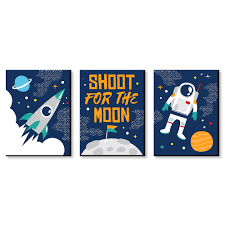 Blast Off To Outer Space Rocket Ship Nursery Wall Art And Kids Room Decor 7 5 Inches X 10 Inches Set Of 3 Prints Walmart Com Walmart Com