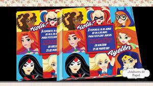 Invitaciones Tarjeta Cumpleanos Super Heroes Heroinas Girls 16