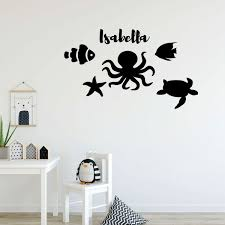 Sea Creatures Fish Octopus Turtle Children Room Vinyl Wall Decal Scene Customvinyldecor Com