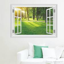 Fake Window View Wall Decal Sunshine Forest Tree Grassland Wall Stickers For Living Beautiful Landscape Wall Decals Home Decor Cheap Wall Decor Stickers Cheap Wall Murals And Decals From Fullhouse517 2 95 Dhgate Com
