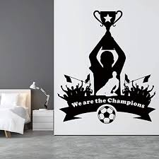 Amazon Com Vodoe Soccer Wall Decals Boys Wall Decals Team Champion Dream Victory Cheer Athletic Pele Ball Team Stickers Suitable For Family Living Room Vinyl Art Home Decor Black 22 8 X 26 3 Inches Home