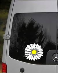 White Daisy Flower Sticker For Car Truck Windows Laptops Any Smooth Surface Waterproof Mc Artwork Decals