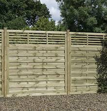 Contemporary Premium Decorative Fence Panel With Flat Trellis Top Hit Miss Design 6 X6 1 80m Wide X 1 80m Height Pack Of 3 Panels Amazon Co Uk Garden Outdoors