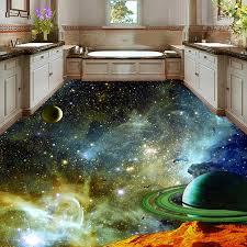 Pvc Self Adhesive Floor Mural Wallpaper Modern Universe Star Sky 3d Floor Tiles Sticker Kids Bedroom Kitchen Waterproof Frescoes Wallpapers Aliexpress
