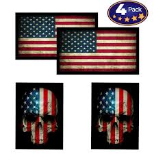 American Flag Skull Flag Hardhat Helmet Stickers 4 Decal Value Pack Great For Motorcycle Biker Helmet Construction Toolbox Hard Hat Mechanic Shop More Great Gift For Any Patriot Usa