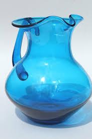 aqua blue hand blown glass pitcher