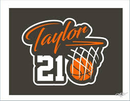 Basketball Decal Car Vinyl With Childs Name And Number Basketball Window Sticker Custom Kids Sport Basketball Decal Sports Vinyl Decals Window Stickers