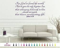 John 3 16 For God So Loved The World Bible Wall Vinyl Decal Scripture Sticker Ebay
