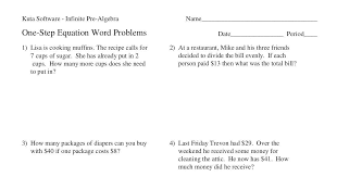 one step word problems m answer and
