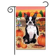 boston terrier flag fall garden